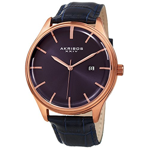Akribos XXIV Men's Quartz Rose-Tone Case with Blue Sunray Dial and Rose-Tone Hands on Blue Alligator Embossed Genuine Leather Strap Watch AK914BU