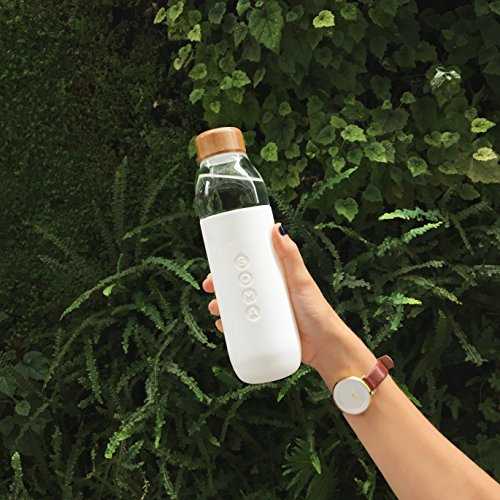 Soma 17 oz. BPA-free Wide Mouth Glass Water Bottle with Silicone Sleeve, White