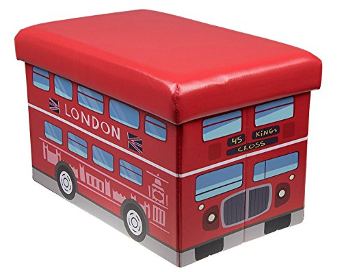 Premium Red London Double Decker Bus Folding Ottoman Storage Organizer