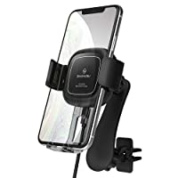 [2020Updated] Sinjimoru Auto Clamping Wireless Car Charger Mount, Cutting-Edge Smart Sensor Phone Holder for Car with 2 Way Air Vent Car Phone Mount Fast Charger, Sinjimoru O-Grab Bal, Black
