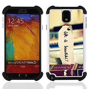 For Samsung Galaxy Note3 N9000 N9008V N9009 - Books Travel Beautiful Life Vignette /[Hybrid 3 en 1 Impacto resistente a prueba de golpes de protecci????n] de silicona y pl????stico Def/ - Super Marley Sh