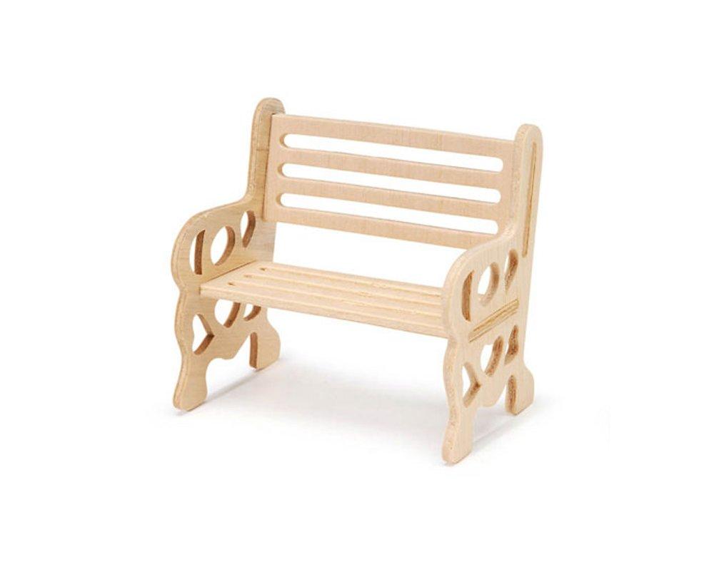 8cm Untreated Wooden Garden Bench for Miniature Garden Crafts
