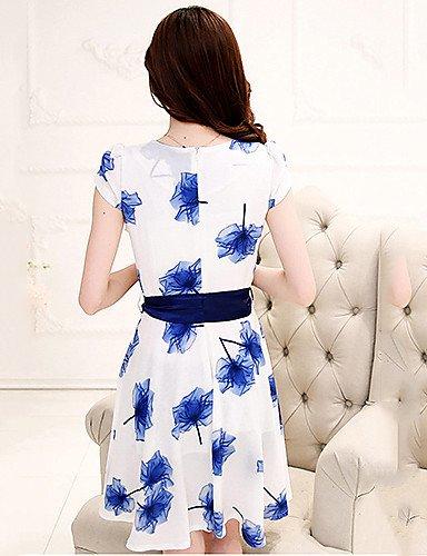 PU&PU Robe Aux femmes Gaine Vintage,Imprimé Col en V Mi-long Polyester , white-xl , white-xl