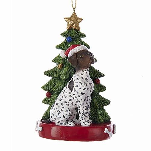 GERMAN SHORTHAIRED POINTER WITH CHRISTMAS TREE ANE LIGHTS ORNAMENT FOR PERSONALIZATION (Pointer Ornaments Shorthaired)