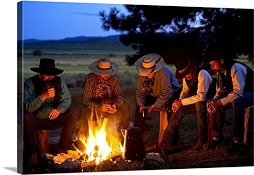 30 Western Campfire (Richard Wear Premium Thick-Wrap Canvas Wall Art Print entitled Group Of Cowboys Around A Campfire 30
