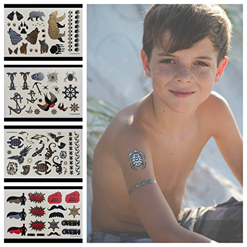 Twink Designs Temporary Tattoos - 4 Pages of Fun Metallic Temporary Tattoos for Kids (Boys and Girls) - Black, Silver, Red & Gold Tattoo Bears, Wolves, Turtles, Lizards, Spiders, Birds, and More -