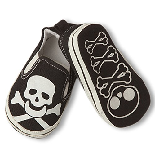 (Infant Boys Girls Slip On Shoes Sneakers Loafers Different Colors and Designs (Infant 3, Black with White Skull Shoes))