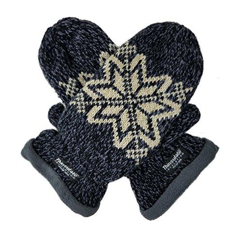 Bruceriver Women Snowflake Knit Mittens with Warm Fleece Lining (Dk.Navy)