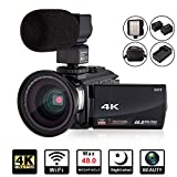 4K Camcorder Video Camera KOT HD WiFi 3.0 Inch IPS Touch Screen 48MP 16X Powerful Digital Zoom Camera with Microphone and Wide Angle Lens IR Night Vision Vlogging Video Camera Recorder Handy cam