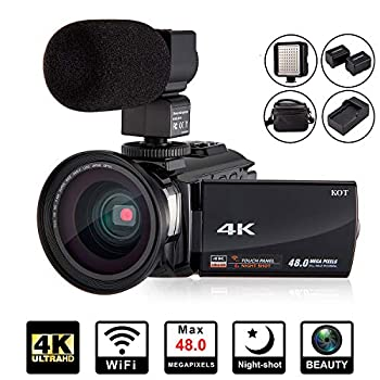 Image of 4K Camcorder Video Camera KOT HD WiFi 3.0 Inch IPS Touch Screen 48MP 16X Powerful Digital Zoom Camera with Microphone and Wide Angle Lens IR Night Vision Vlogging Video Camera Recorder Handy cam Camcorders