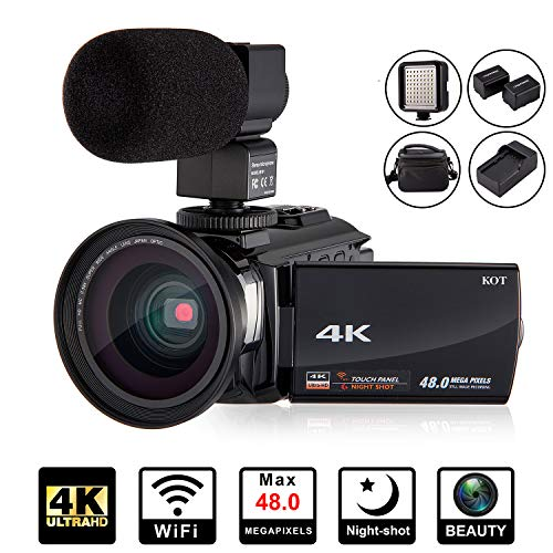 4K Camcorder Video Camera KOT HD WiFi 3.0 Inch IPS Touch Screen 48MP 16X Powerful Digital Zoom Camera with Microphone and Wide Angle Lens IR Night Vision Vlogging Video Camera Recorder Handy cam ()