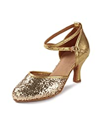 HIPPOSEUS Women's Glitter Leatherette/Sequins Latin Ballroom Moden Dance Shoes Closed Toes,Model MF1802-5