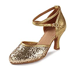 Women Pointed Toe Sequin Dance Shoes
