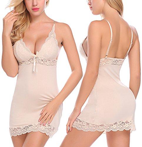 Petite Chemise - ADOME Women's Full Slip Modal Sleepwear Strap Nightgown V Neck Chemise Lace Lingerie (S, Apricot)
