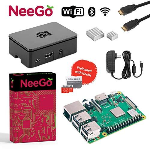 NeeGo Raspberry Pi 3 B+ (B Plus) Complete Kit, Black, 32GB Edition - Raspberry Pi Barebones Computer Motherboard 64bit Quad-Core 1.4GHz CPU 1GB RAM, Black Pi3 Case, 2.5A Power Supply, 6FT HDMI Cable, (Kit 802.11b/g)