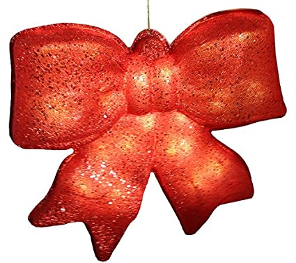 penn red glittered battery operated lighted led christmas bow decoration 155