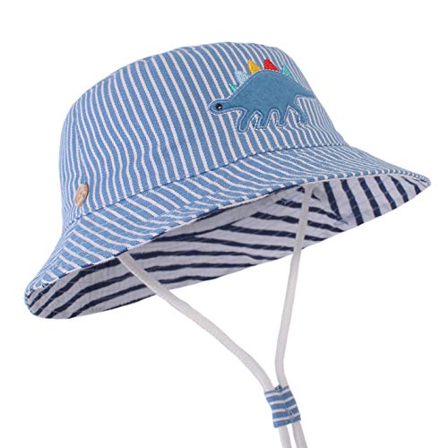 Azue Toddler Baby Summer Sun Hat Adjustable Strap Fisherman Hats UPF 50+ Sun Protection Beach Hat Stripe Dinosaur Large: 2-4 Years (Cap Stripe Hat)