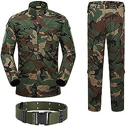 H World Shopping Military Tactical Mens Hunting Combat BDU Uniform Suit Shirt & Pants with Belt Woodland Camo (M)