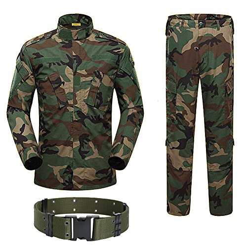H World Shopping Military Tactical Mens Hunting Combat BDU Uniform Suit Shirt & Pants with Belt Woodland Camo (L)