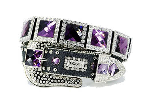 BELTSWEB 2005 Women's Square Concho Western Belt Size 32 Black Purple
