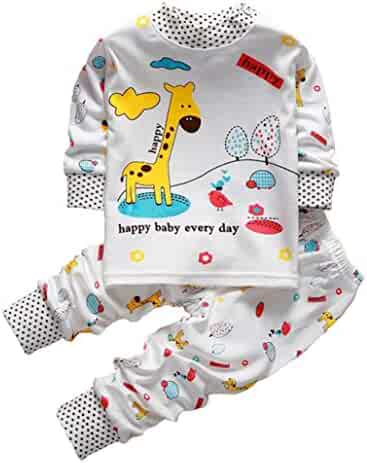 a06661dc7acd Fineser 2PCs Baby Boys Girls Clothes Toddler Cartoon Giraffe Long Sleeve  Sweatshirt Tops +Pants Outfits