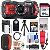 Ricoh WG-60 Waterproof/Shockproof Digital Camera (Red) with 64GB Card + Battery & Charger + Case + Tripod + Remote + Kit