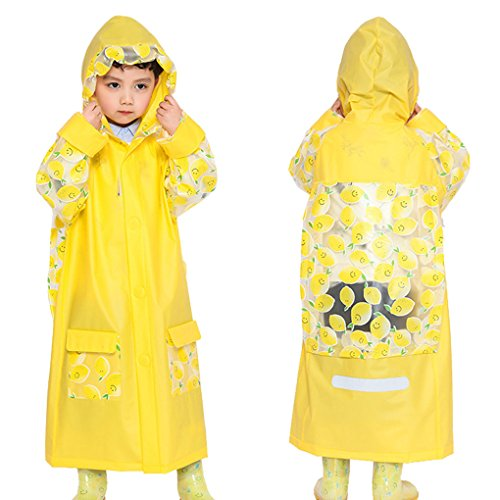 Rain Poncho for Kids to Cover Backpack,Caszel Age 5-12 Kids Teens Rain Jacket Rain Poncho Raincoat Hooded with Backpack Cover and Safety Reflective Stripe for Nights and Heavy Rain Rainwear Yellow M