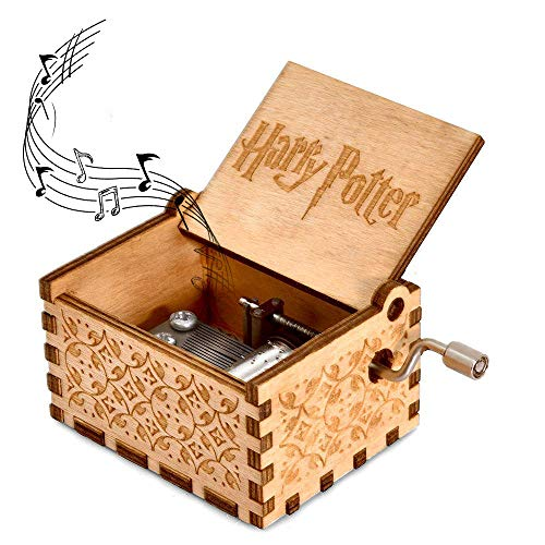 (Yoomarket Music Box for Harry Potter Hedwig's Theme Carved Wooden Hand Crank Musical Box Vintage Classic Handmade Engraved Children's Day Birthday Gift for Kids, Boys, Girls, Friends)