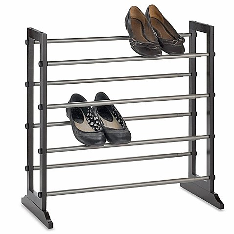 4-Tier Expandable Shoe Rack in Mahogany, Holds Up To 24 Pairs Of Shoes