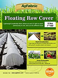 Agfabric Floating Row Cover for frost protection,0.9 oz, 7'*100' (1)