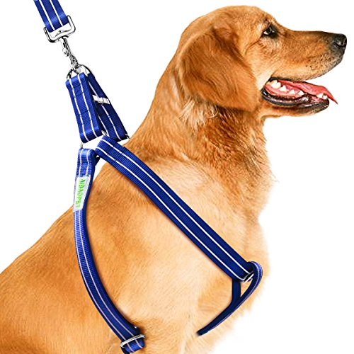 CoolPets Dog Harness Leash Collar Set, Adjustable Heavy Duty Harnesses for Large, Medium, Small Breed Dogs, Back Clip, Anti-Twist, No Pulling, Easy for Walking, Running, Training