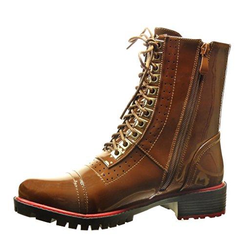Angkorly - damen Schuhe Stiefeletten - Combat Boots - Gummistiefel - Perforiert - Patent Blockabsatz 3.5 CM - Braun IKyaVXSqD