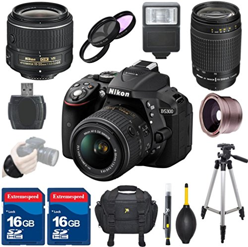 - Nikon D5300 DSLR Camera + 18-55mm VR II Lens + 70-300mm G Lens + .42x Fisheye Auxiliary Lens + Deluxe Case + 3pc Filter Kit + Tripod + Electronic Flash + 2pcs 16GB Memory Cards - International Version