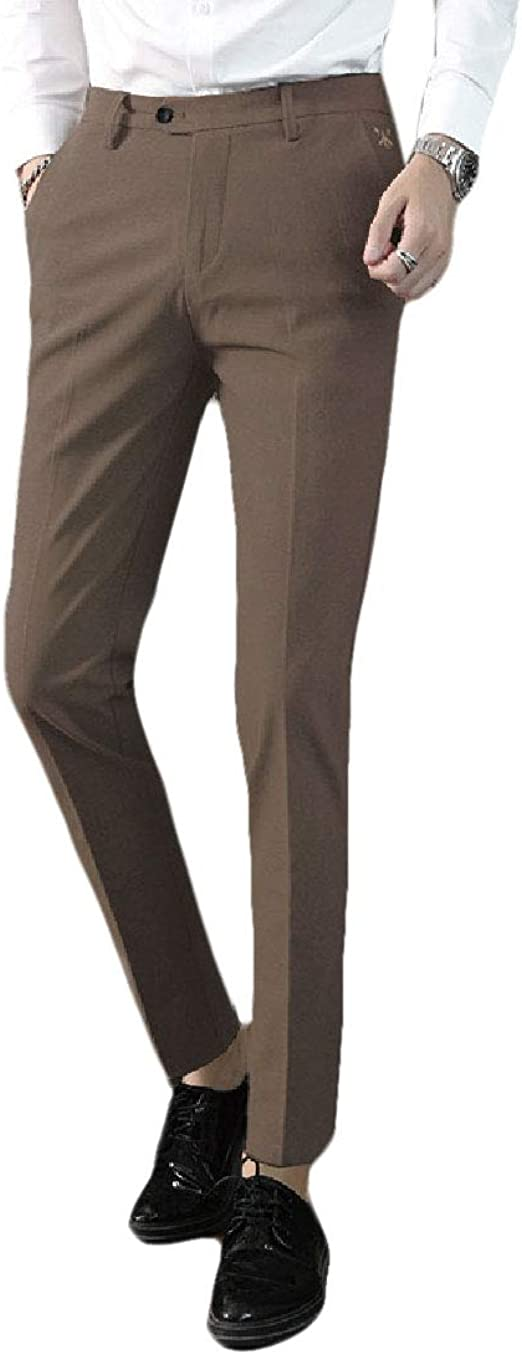 Candiyer Mens Middle Waist Relaxed Fit Business Straight Leg Non-Iron Dress Pant