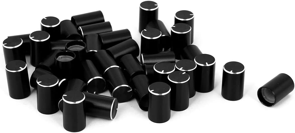 Uxcell a12021500ux0334 5 Piece Black Plastic Rotary Knobs w White Mark for Potentiometer Pot