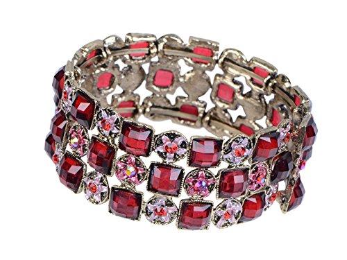 Alilang Antique Square Ruby Red Crystal Rhinestone Enamel Flower Stretch Cuff Bangle Bracelet ()
