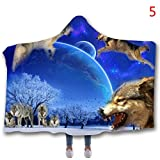Wolf Theme 3D Printing Blanket Arctic Velvet Hooded Blanket