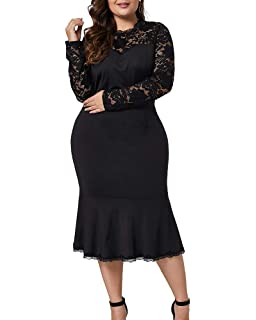 10868ca0042 Lalagen Womens Plus Size Lace Long Sleeve Cocktail Party Mermaid Midi Dress