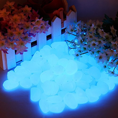 300 Pcs Glow in the Dark Pebbles for Walkways and Decor | Decorative Stones for Gardens, Yards, Lawns, Driveways , Plants, Aquarium | Electric Blue