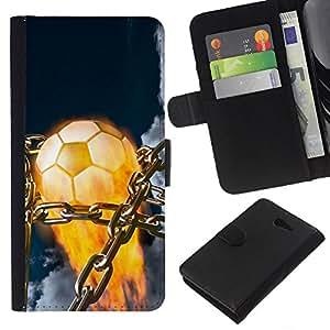 Balón de fútbol llameante - la tarjeta de Crédito Slots PU Funda de cuero Monedero caso cubierta de piel Para Sony Xperia M2