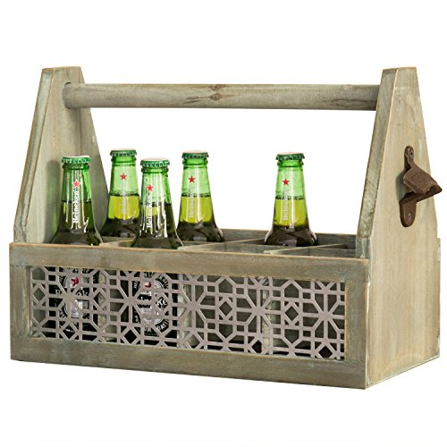 MyGift Rustic Wooden 8-Bottle Beer Caddy with Vintage-Style