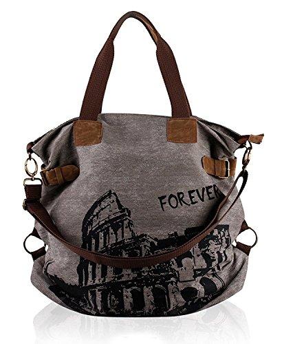 UUstar® Frau vintage Schultasche Canvas Handtasche Rucksack Groß Umhängetasche Reisetasche Ipad Kameratasche Schule Tasche Sales Outlet (Grau.)