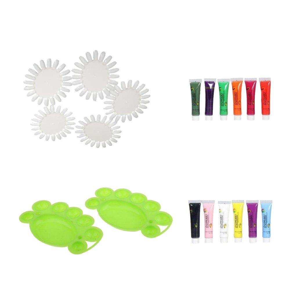 MagiDeal 12 Colors Acrylic Nail Art Painting Drawing Pigment Tubes + 2 Pcs Nail Color Mixing Palatte+ 5Pcs Nail Art Color Display Chart