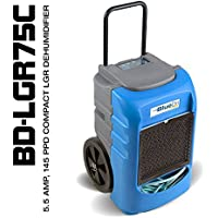 BlueDri BD-LGR75C Compact Low Grain Efficient Commercial Dehumidifier Designed for Water Damage and Construction Contractors (Blue)
