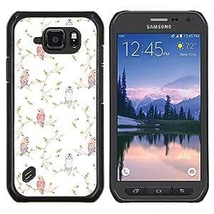 Caucho caso de Shell duro de la cubierta de accesorios de protección BY RAYDREAMMM - Samsung Galaxy S6Active Active G890A - Viñeta Birds Wallpaper Blanca