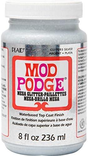 Mod Podge Mega Glitter Silver 236ml, Plata, 236 ml