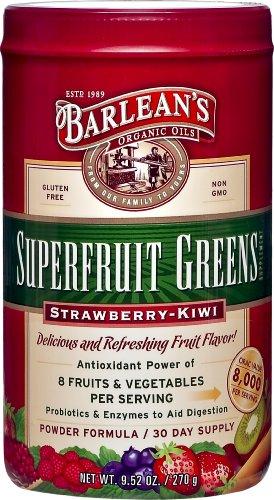 Les huiles Bio Verts superfruits Barlean, fraise kiwi, 9,5 once