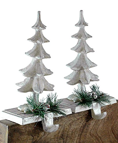 Caffco Pine Tree with Spruce Holiday Stocking Holder - Set of 2 (Stocking Hook)