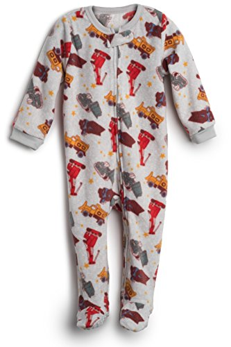 Elowel Baby Boys Footed Sand Truck Pajama Sleeper Fleece 12-18 Months