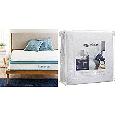 "Linenspa 8"" Memory Foam and Innerspring Hybrid Mattress, Twin with AmazonBasics Hypoallergenic Vinyl-Free Waterproof Mattress Protector, Twin"